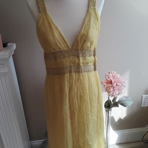 FRENCH CONNECTION Beaded Yellow Tank Dress